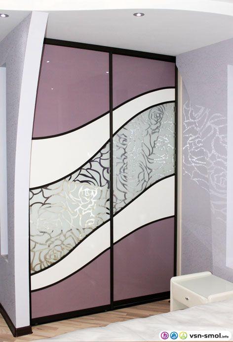 встроенный шкаф купе с пескоструйным рисунком фото